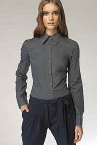 Klasyczna taliowana koszula szary - K21 - 1897956246