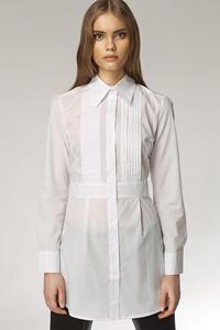 Modna przedłużana koszula z zakładkami HIT biały - K19 - 1897956567