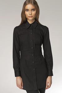 Modna przedłużana koszula z zakładkami HIT czarny - K19 - 1897956568
