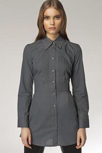Modna przedłużana koszula z zakładkami HIT szary - K19 - 1897956570