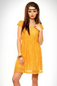 3309-1 Sukienka z koronki, gruba - żółty - 1897957102