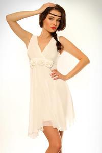 3403-2 Sukienka na ramiączkach z różyczkami pod biustem - biały - 1897957116