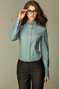Koszula w modną kratę - turkusowa - K37 - 1897957182