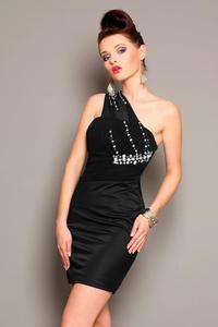 3701-5 Elegancka sukienka z usztywnianymi miseczkami i ozdobnymi kamieniami - czarny - 1897957288