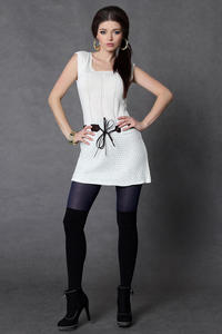 4004-3 Sukienka bez rękawów z paskiem - ecru - 1897957307