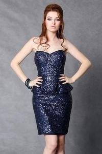 4103-1 Cekinowa sukienka baskinka  - granatowy - 1897957324