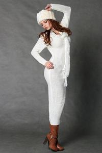 4117-1 Długa wełniana sukienka + szalik - ecru - 1897957330