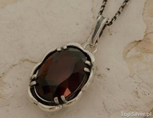 ARES - srebrny wisior z granatem - 2862000477