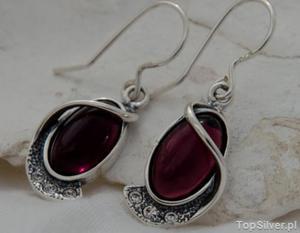PENELOPA - srebrne kolczyki z ametystem i kryształkami - 2831093387
