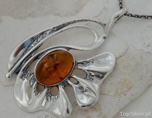 GIRONA - srebrny wisior z bursztynem - 2831093631