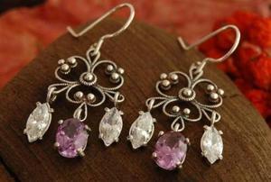 RANGA - srebrne kolczyki z ametystem i kryształkami - 2831093664