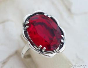 7b9fbf9503980a FABIOLA - srebrny pierścień z rubinem - 2831093761