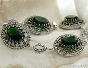 ANTONINA - srebrna bransoleta szmaragdy z kryształ - 2865813950