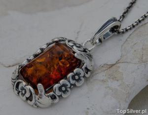 ARANCZA - srebrny wisior z bursztynem - 2858323645