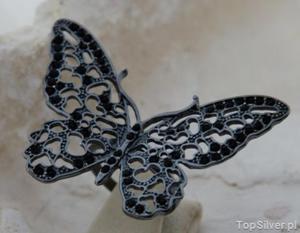 CZARNY MOTYL - srebrny pierścień z onyksami - 2835459693