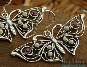 MOTYLEK - srebrne kolczyki rubiny i perły - 2831093911