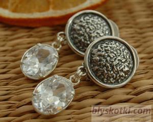ARMELIA - srebrne klipsy z kryształem - 2831093983