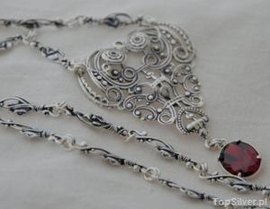 COLUMBIA - srebrny naszyjnik z granatem - 2831094372