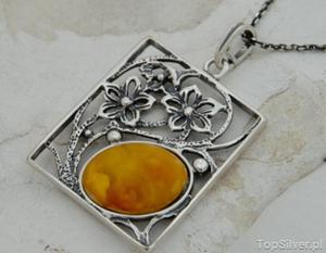 LAURA - srebrny wisior z bursztynem - 2831092577