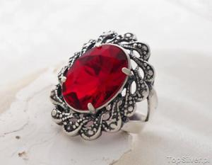 CASTELLON - srebrny pierścień z rubinem - 2831094125