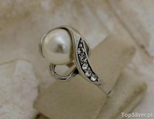 MAESTRO - srebrny pierscionek perła i kryształy - 2831094145