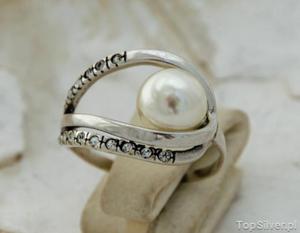 BALENA - srebrny pierścień z perłą - 2865813980