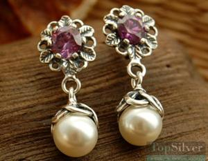 KALISA - srebrne kolczyki z ametystem i perłą - 2831094179