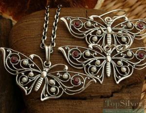 MOTYLEK - srebrny komplet rubiny i perły - 2865813966