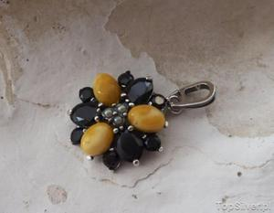 AMATA - srebrny wisior onyksy, perły i bursztyny - 2831094268