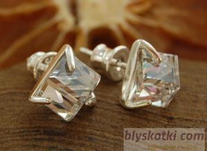 CRISTAL - srebrne kolczyki z kryształem Swarovskie - 2831092594