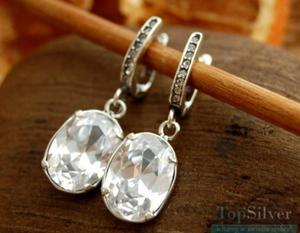 SALZBURG - srebrne kolczyki z kryształem Swarovskiego - 2865813954