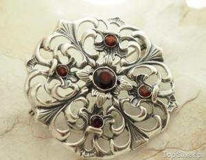 OVIEDO - srebrna brosza z naturalnymi granatami - 2831094333