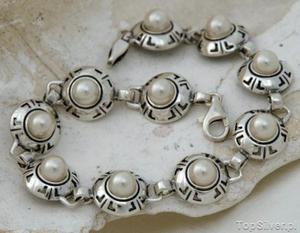 DORIA - srebrna bransoletka bransoletka z perłą - 2831092595