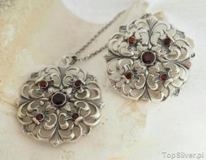 OVIEDO - srebrny komplet z naturalnym granatem - 2831094335