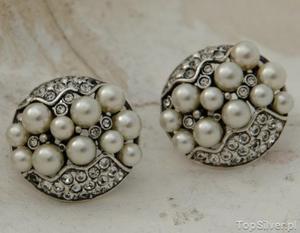 BENELUX - srebrne klipsy perły i kryształki - 2831094358