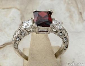 ALEXIS - srebrny pierścień z granatem - 2831094457