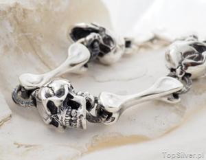 CZASZKA - srebrna bransoleta dla twardego faceta - 2834819332