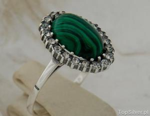 DRAGA - srebrny pierścionek z malachitem i kryszta