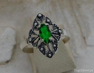 LUKKA - srebrny pierścionek ze szmaragdem - 2831092694