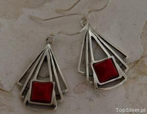 VITORIA - srebrne kolczyki z koralem - 2831092431
