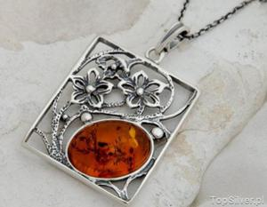 NORMA - srebrny wisior z bursztynem - 2831092940