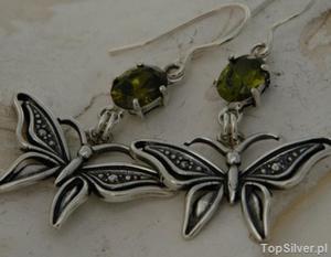 MOTYLEK - srebrne kolczyki z oliwinem - 2831093183