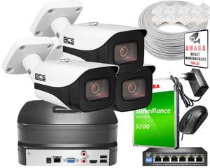 Rejestrator IP BCS BCS-NVR04015ME-II + 3x Kamera FullHD BCS-TIP4401AIR-IV+ Dysk 1TB + Akcesoria - 2863457720