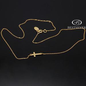 Łańcuszek srebrny celebrytka złocony z krzyżykiem 925 - 2875312155