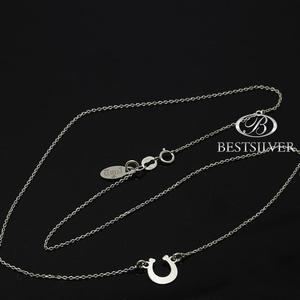 Lancuszek srebrny rodowany z podkowa na szczescie SREBRO 925 - 2837419756