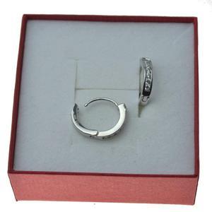 0513e22f381081 Kolczyki srebrne kółka z cyrkoniami na zatrzask Srebro 925 - 2837419723