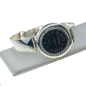 Zegarek srebrny z czarn - 2863932765