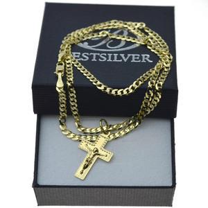 Łańcuszek Złoty Pancerka 50cm 3mm + krzyżyk z P. Jezusem nr1 Złoto pr 585 - 2879040739