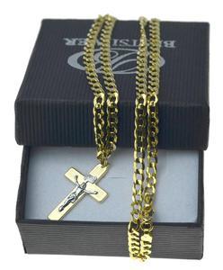 Łańcuszek Złoty Pancerka 50cm 3mm + krzyżyk z P. Jezusem nr2 Złoto pr 585 - 2879040733