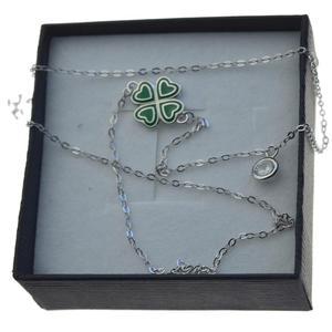 Naszyjnik srebrny rodowany koniczyna z cyrkonia 2 zawieszki ZAW087 - 2862699533